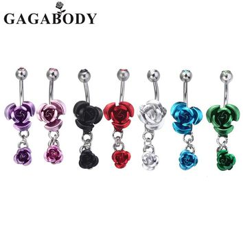 2017 1PC Navel Rings Sexy Double Rose Dangle Body Piercing 14G Belly Button Ring 1.6mm Women Body Jewelry Piercing