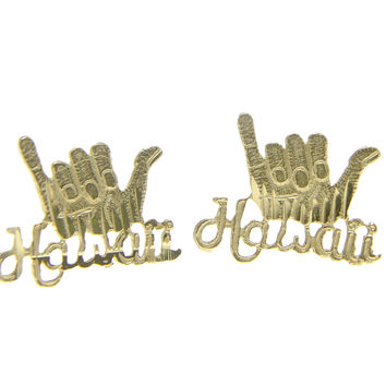 14K YELLOW GOLD HAWAIIAN DIAMOND CUT HANG LOOSE SHAKA HAWAII STUD POST EARRINGS