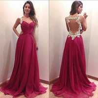 Fashionable Sexy Backless V Neck Night Dinner Anniversary Dating Wedding Long Dress b160