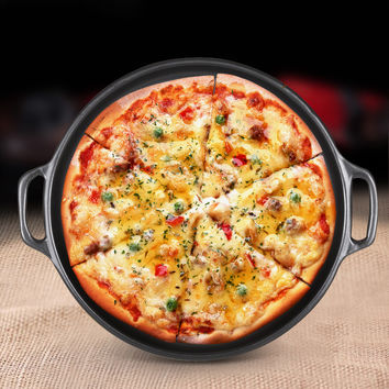 Round Ceramic Pizza Pan With Handle For Baking Pizza Mold For Microwave Oven Steak Pans Kitchen Bakeware Cookware Bake Dishes