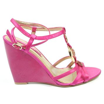 Nine West Womens Ankle Strap Wedge Sandal NWJUVELIE DARK PINK