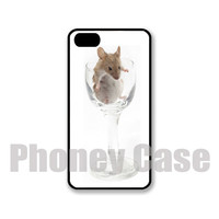 Iphone 4, 4s, 5, 5s, 5c Mouse in Wine Glass Personalized iPhone Case #184