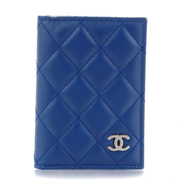 CHANEL Lambskin Quilted Card Holder Wallet Dark Blue