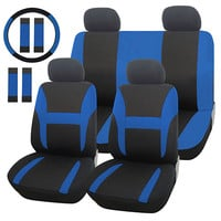 Adeco 13-Piece Car Vehicle Protective Seat Covers, Universal Fit, Black with Bright Blue Details