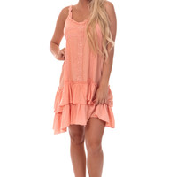 Peach Ruffle Crochet Dress