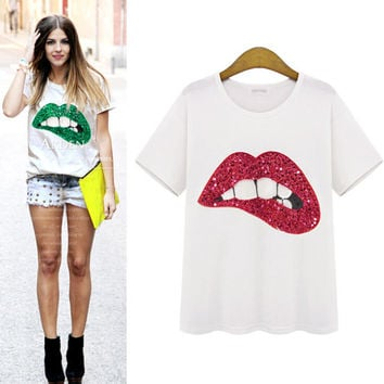 Fashion Lips sequined T-shirt