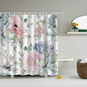 Green Leaves Printed Marine Polyester Waterproof Shower Curtain With 12pc Hook Mildew Resistant Bath Curtain Home Bathroom Decor