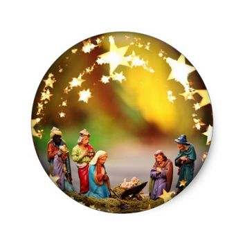 Nativity Scene Crib Virgin Mary Infant Jesus Stars Classic Round Sticker