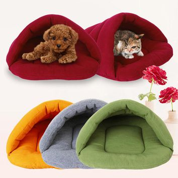 Newest Pet Dog Crate Cat Cave Warm Winter Bed House Sleeping Bag Plush Mat S M L