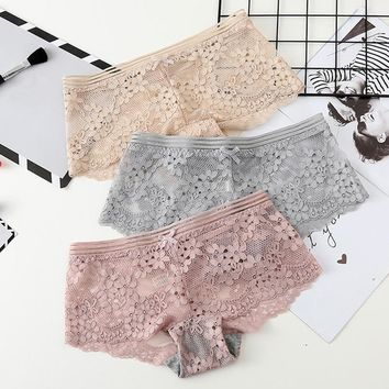 GUMPRUN Summer Ultra-thin Panties Hollow Out Low Rise Lace Boyshort Breathable Panties Women Floral Quality Lace Underwear Women