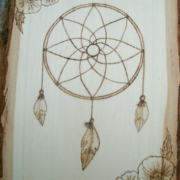Wood Burned Dream Catcher