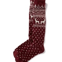 Old Navy Thick Patterned Boot Socks Size One Size - Wine Reindeer