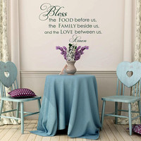 Wall Decal Quote Family Bless The Food Before Us Wall, Family Wall Decal Quotes, Kitchen Prayer Wall Decal, Kitchen Wall Art Home Decor K128