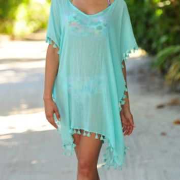 Seafolly Amnesia Kaftan Beach Cover-Up in Peppermint, designer women's swimwear and beachwear for women at its best. Next Day Delivery & Free UK Returns/Exchanges