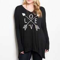 Plus Size Love & Arrow Graphic Printed Long Sleeve Top in Black