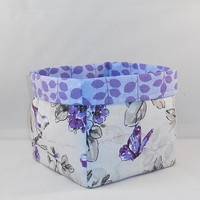 Purple Bird And Nature Themed Fabric Basket For Storage Or Gift Giving