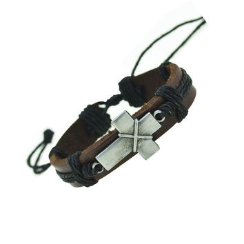 Cross Charm Leather Bracelet (Brown)