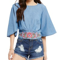 GB Embroidered Flared-Sleeve Chambray Crop Top   Dillards