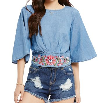 GB Embroidered Flared-Sleeve Chambray Crop Top | Dillards