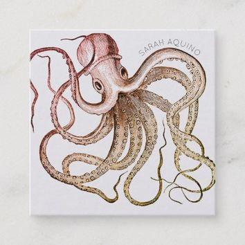 Bold Octopus With Curved Typeface Square Business Card