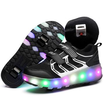 USB Charged LED Flashing Double Roller Skate Shoes Invisible Automatic Pulley Roller Shoes Luminous Sneakers Light Up Shoes
