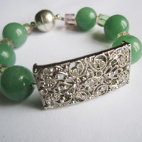 Green Aventurine Czech Glassbeads and Rhinestone Connector Bracelet