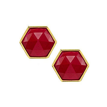 Trina Turk Hexagon Stone Stud Earrings - Gold/Pink