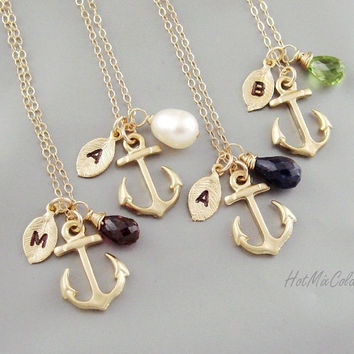 FOUR Initial Anchor Necklace, Monogram Birthstone Necklace, Monogram Leaf charm Jewelry, Marine Wedding Theme, Nautical bridesmaid gifts