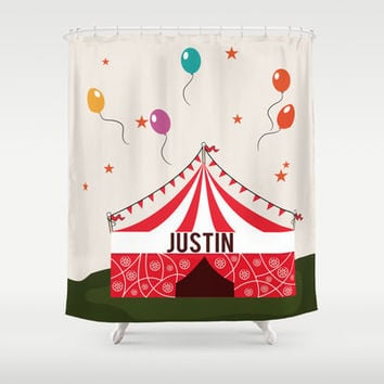 Circus Tent Personalized Shower Curtain