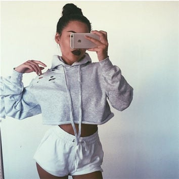 Gray Hooded Long Sleeve Cut Out Cropped Sweater