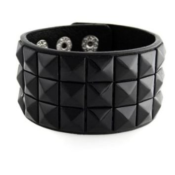 New Triple and Double Studded Punk Rock Wristband Bracelets Black