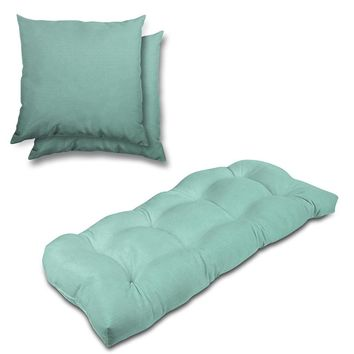 Stratford Home Indoor/ Outdoor Sunbrella Pillows and Bench Cushion Set (Glacier)