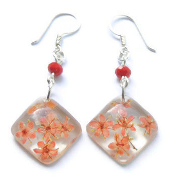 Pressed flower earrings, Red earrings, Resin flower jewelry, Real flower jewelry, Dangle earrings, Murano earrings