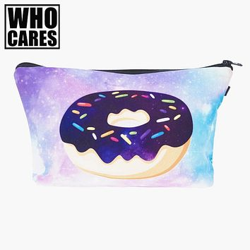 space donut 3D Printing women makeup bag neceser bolsos mujer de marca famosa 2017 New who cares bolsa neceser maquillaje