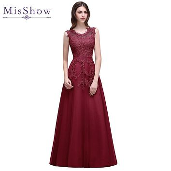 2017 A Line Sequined Lace AppliquesBurgundy Pink Red Evening Dresses Robe De Soiree Formal Evening Gowns Dresses