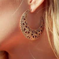 Gold Stencil Design Earrings from Haute1