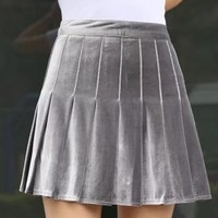 Gray Velvet Pleated Mini Skirt