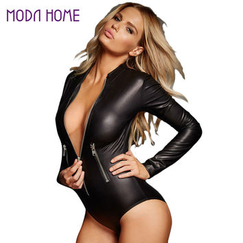 Black PU Leather Bodysuit Women Jumpsuit Long Sleeve Zip Detail Rompers Womens Jumpsuits Playsuit Sexy Overalls  SM6