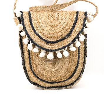 BEACH BAG Purse Large Vintage 1970s Woven Straw Crossbody Raffia Market Bag