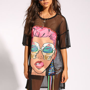 Black Mesh Pop Art Tunic Tee
