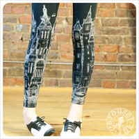 $28.00 Victorian Leggings Pattern Black Leggings by Carouselink