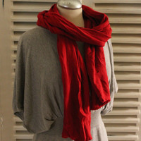 Upcycled Red Scarf, Spring/Autumn Unisex Scarf, Knit Cotton Blend Spring Scarf
