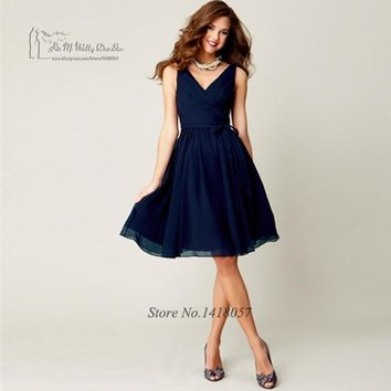 Beach Purple Navy Blue Bridesmaid Dresses Short Knee Length Cheap Wedding Guest Dress 2017 Vestido Madrinha China Party Gowns