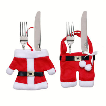 12pc/bag Handmade Santa Suit Clothes Christmas Cutlery Silverware Holder Pockets Knives Forks Bag Xmas Party Table Decorations