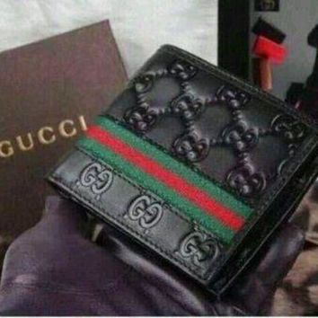 ICIKIN2 NWT Gucci Men's Black Leather Guccissima Wallet Web Bifold Men's Wallet free
