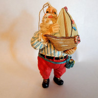 Nautical Toy Maker Santa Claus Christmas Tree Ornament Resin Sail Boar Figurine