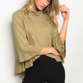 Ladies fashion Long Bell Sleeve with Cowl Neck Waffle Knit Top