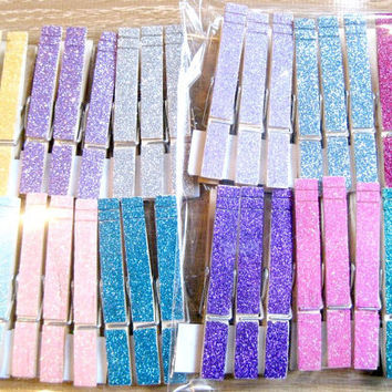 Glittered Clothespins - Place Card Holders - Set of 12 - LARGE SIZE