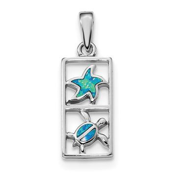 925 Sterling Silver Rhodium Plated Blue Created Opal Starfish Turtle Shaped Pendant