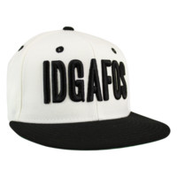 IDGAFOS Classic Snapback (White / Black) | Dillon Francis Apparel | Online Store & Merchandise